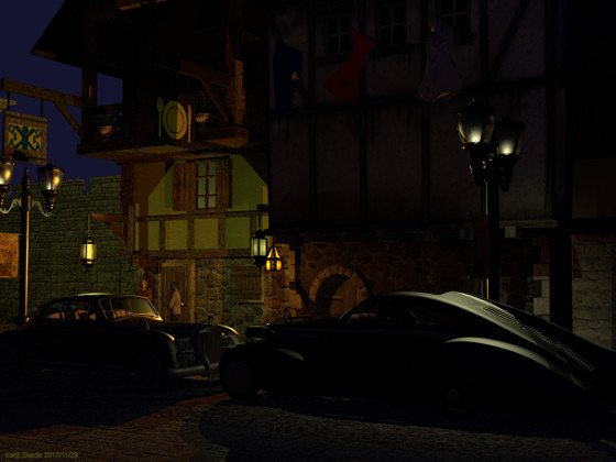 夜の中世風街路とロールスロイス