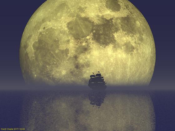水平線に上る満月と帆船のシルエット
