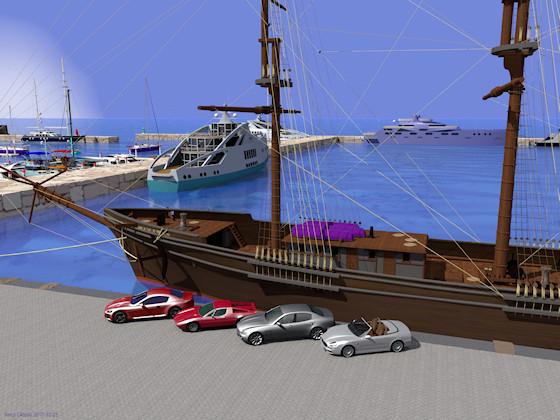 岸壁に停まる大型帆船とマセラティ4台