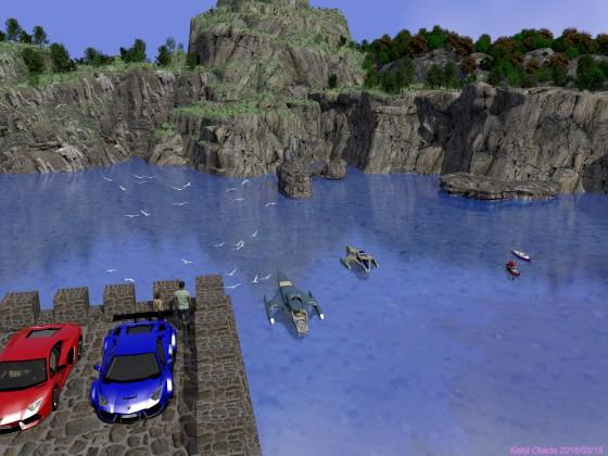 入江を見下ろす展望台に停めたランボルギーニ2台