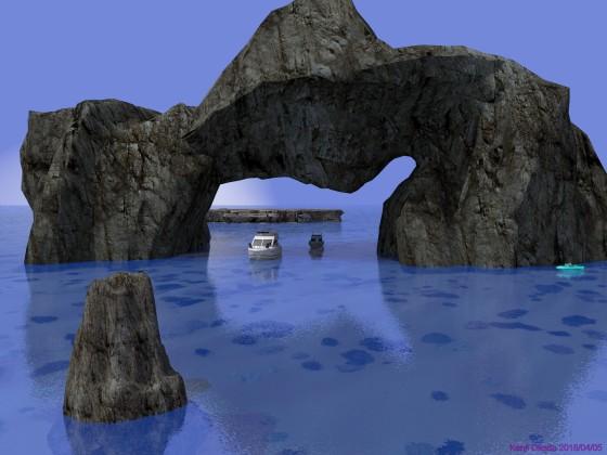 奇岩に遊ぶボート