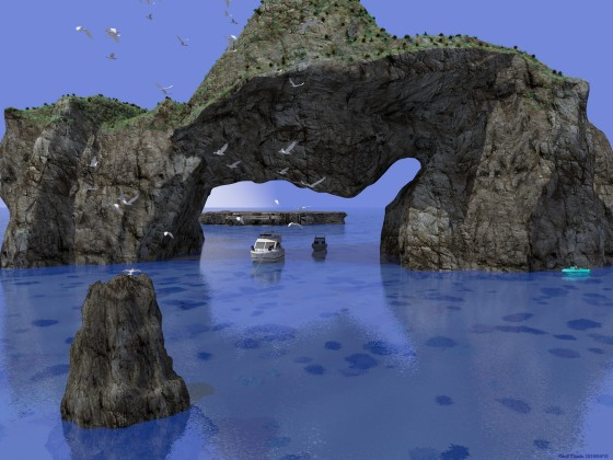 奇岩に遊ぶボート その2