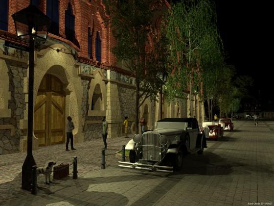 ワインのカテドラルとクラシックカー(夜景)