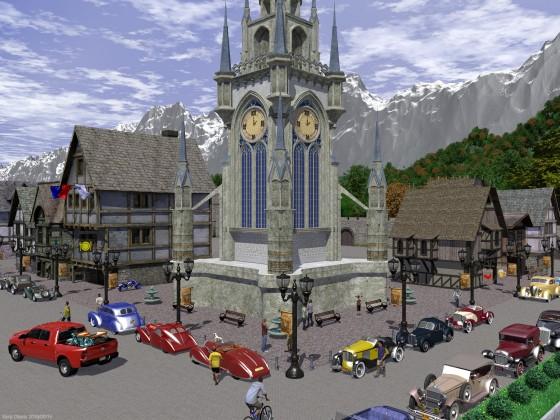 中世風街並みとクラシックカー その2