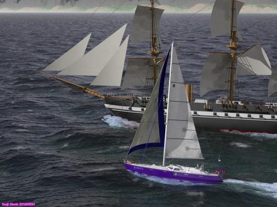 70フィートセーリングクルーザーと大型帆船の並走