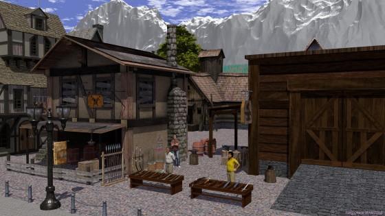 中世風町並みの一角、鍛冶屋と武具商