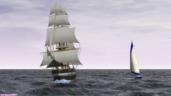 70フィートセーリングクルーザーと大型帆船の並走  その2