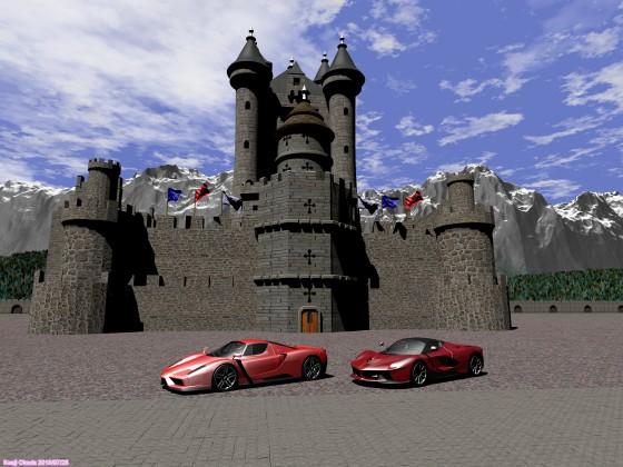 中世風の城とフェラーリ