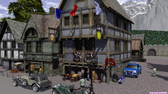 中世風街並みの一角、ドラゴン印の宿