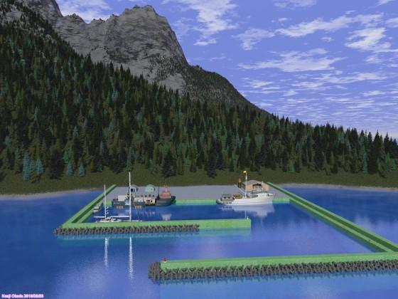 岩峰の島と防波堤のある港