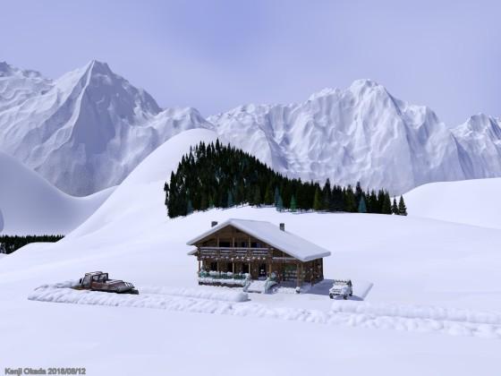 雪山とシャレー