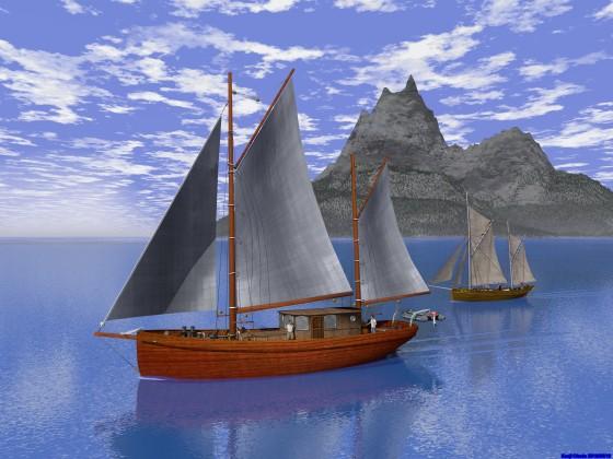 ガフリグ・ケッチ2隻と岩峰の島