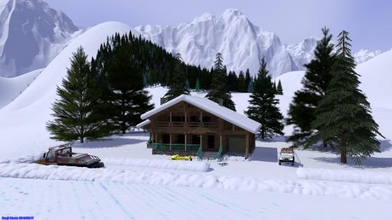 雪山とシャレー その2