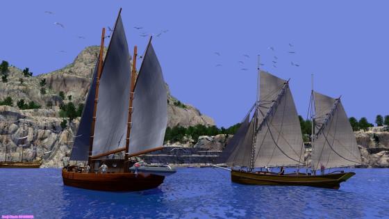 島の隠れ港に入ったガフリグ・ケッチ2隻
