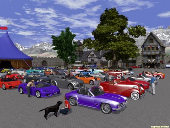 中世風町並みの広場に勢揃いしたオープンカー