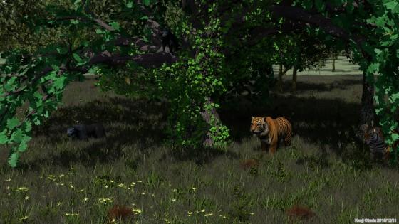 森を出る虎と黒豹