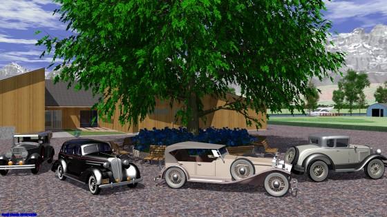 中庭のある邸宅とクラシックカー
