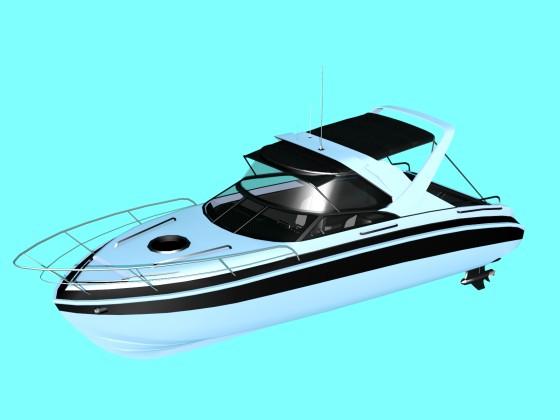 Boat Cabin Cruiser N311218背の高いパルピットと長いビミニトップを組み合わせた艇