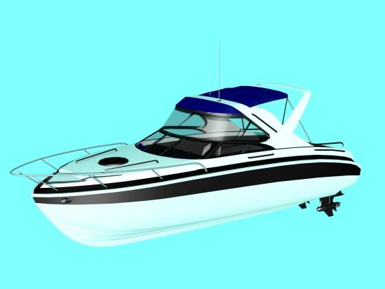 Boat Cabin Cruiser N311218中くらい背のパルピットと短いビミニトップを組み合わせた艇