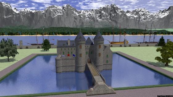 堀のある城