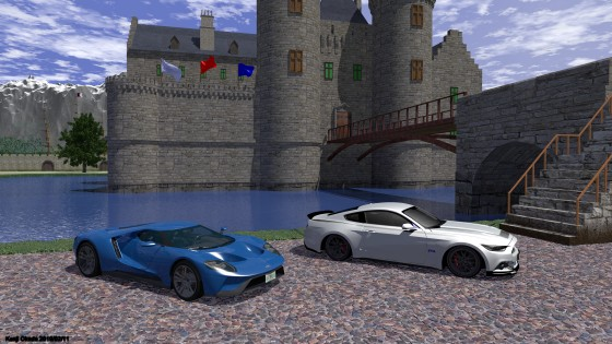 堀のある城を背景にしたFord GT 2017とFord Mustang RTR