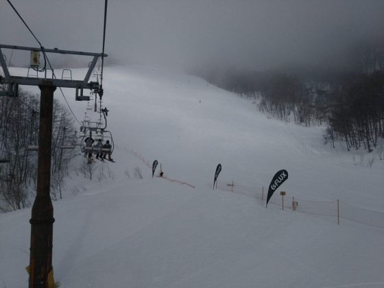 2019-02-23_0841_この日2本目のハンの木第3クワッドリフトから見たゲレンデの雪降_DSC_0141_s.JPG