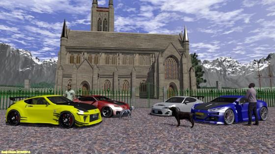 教会の前に並ぶ Nissan 370Z、Lexus LFA、Scion FRS