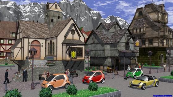 中世風町並みとSmartのマイクロカー