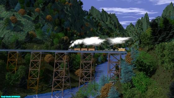 渓谷の鉄橋とSL