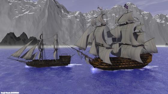 海峡を走る大型帆船