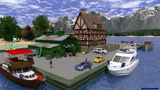 運河と船具商の店
