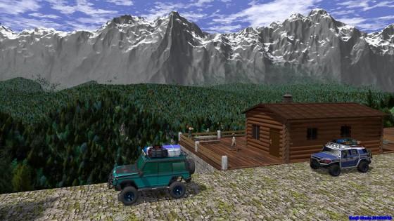 山脈を望む高台のログハウスとSUV