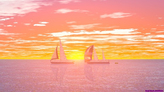 夕陽とヨット