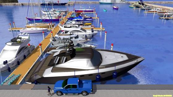 ヨットハーバーのポンツーンとビッグボート