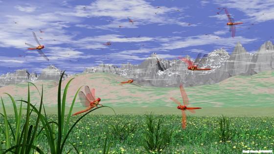 群れ飛ぶアカトンボ