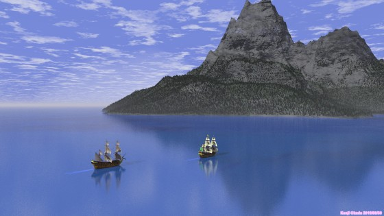 大型帆船と尖峰の島