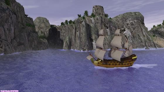 隠れ港のある島を通り過ぎる大型帆船