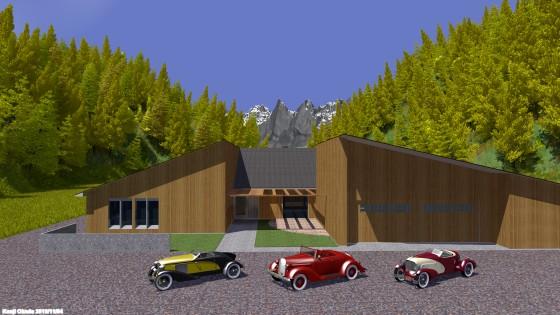 紅葉の森に囲まれた邸宅とクラシックカー