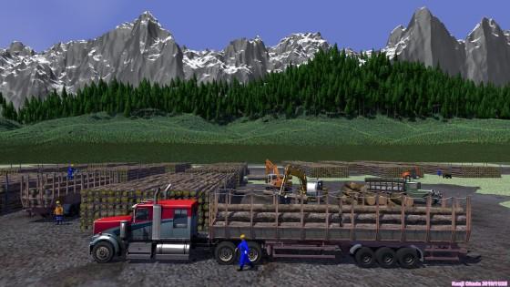 木材の集積場と運搬車