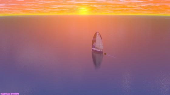 夕焼けの空と海とケッチ