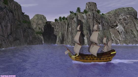 隠れ港のある島を通り過ぎる大型帆船(その2)