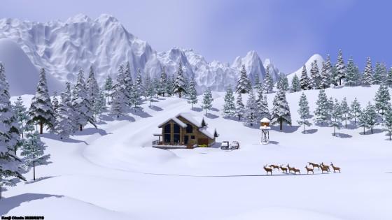 雪の針葉樹林とシャレー