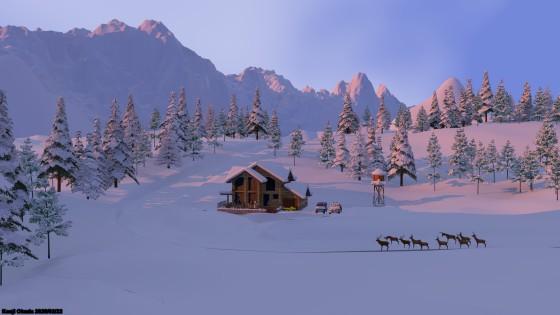 朝焼け:雪の針葉樹林とシャレー