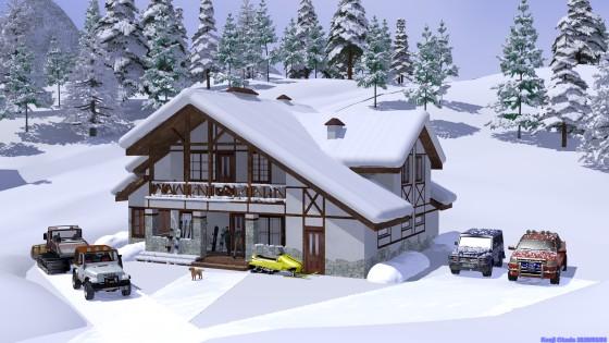 雪の針葉樹林とシャレー(2)