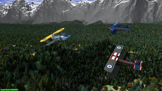 森林の上を飛ぶ複葉機