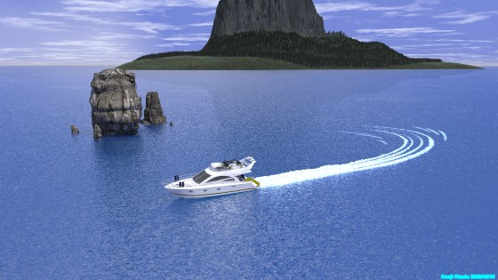 岩礁を巡るスピードボート