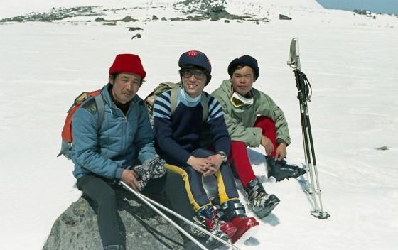 白馬乗鞍岳で、K先輩(左)、私(中)、K先輩の連れ(右)