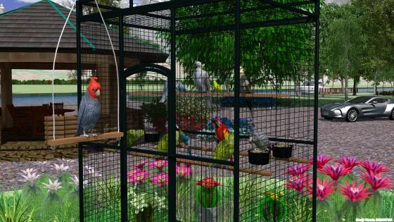 ケージのある庭園・オウムとインコとサボテンの花