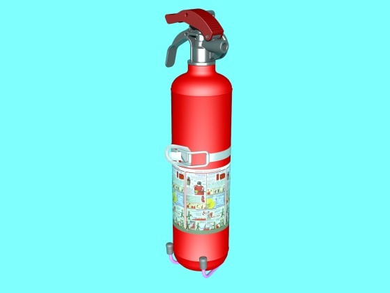 Powder extinguisher on stand