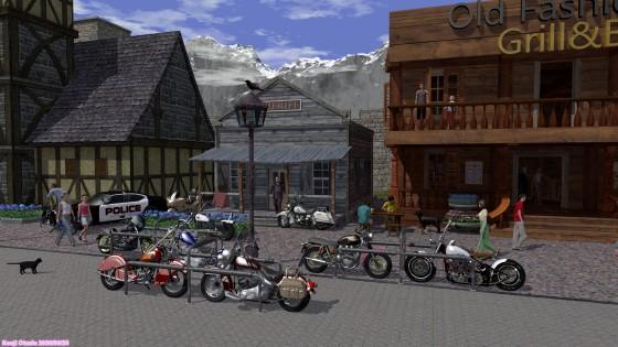木造の建物の並ぶ通りと大型バイク